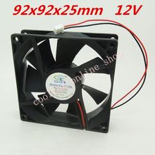 2pcs/lot 92x92x25mm 9225 fans 12 Volt Brushless 9cm DC Fans cooling radiator Free Shipping(China (Mainland))
