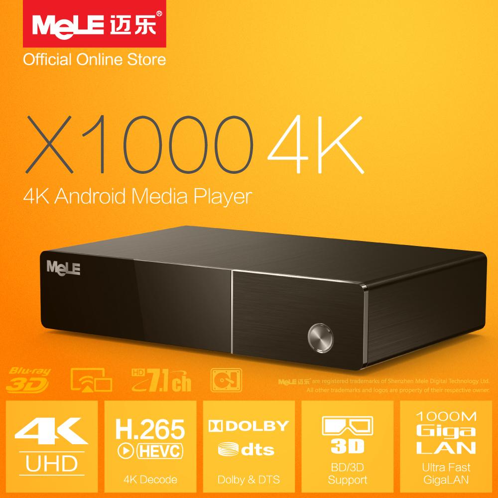 4K Android Media Player MeLE X1000 4K Realtek 1195 H.264 H.265 HDMI 1.4 Blu-ray ISO 3D BDMV Samba Dolby DTS 7.1 XBMC Add-ons(China (Mainland))