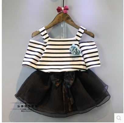 Han edition 2016 children's wear south Korean children's wear girls summer new stripe tags T-shirt + short skirt suit(China (Mainland))