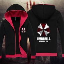 Free shipping 2016 new sale Resident Evil hoodies cardgian Umbrella Corporation symbol logo printed zip-up jacket 7 Color(China (Mainland))