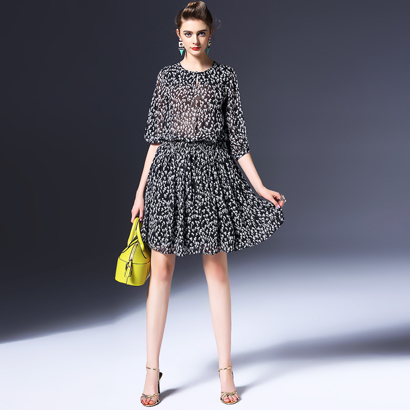100% silk dress new 2016 summer dress half sleeve O neck black dot sheer women casual dress high end vestidos Q6160
