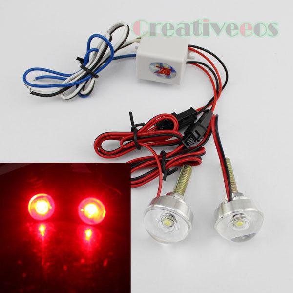 2Pcs Motorcycle Car 12V Round LED Decorative Strobe Flash Tail Brake Warning Light Lamp New(China (Mainland))