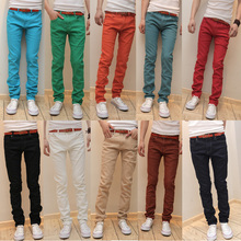 2015 Spring New style men's denim trousers stretch jeans Slim straight casual jeans, multicolor pants big yards free shipping(China (Mainland))