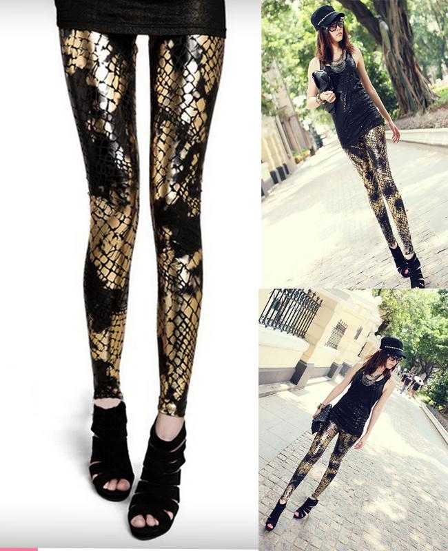 Faux Leather jogging pants Women Snake Legging, girls ...