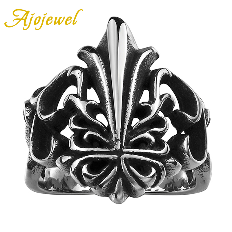 Ajojewel Personality Hollow Out Crown Designer 316L Stainess Steel Men Ring Vintage(China (Mainland))