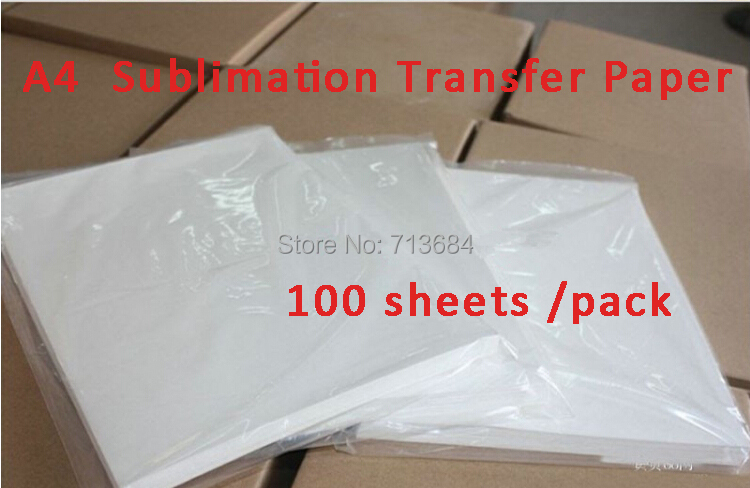 100 Sheets A4 Sublimation Transfer Paper Sublimation paper,heat transfer paper picture on glass, metal, wood, stone, clothing(China (Mainland))