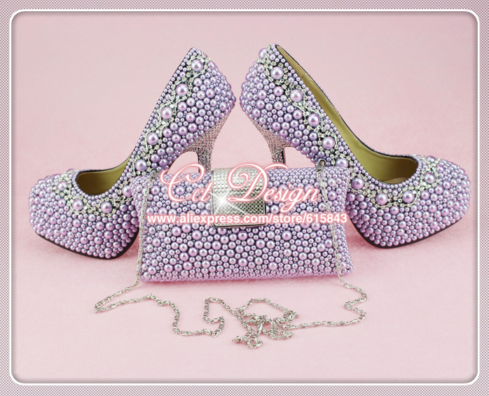 New Arrival Real Leather Custom made Platform Purple pearls wedding shoes and matching bag<br><br>Aliexpress