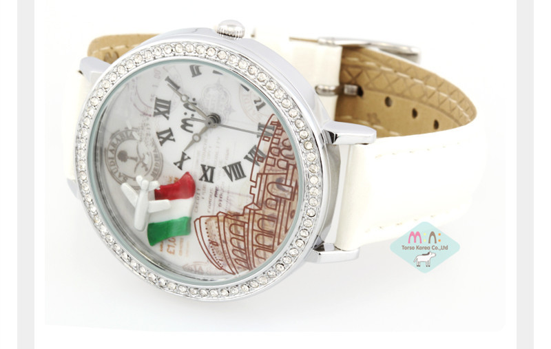 Factory Price Mini 100% Handmade Clay France Flag&Airplane Watch Lovely Girls Pure White Leather Wristwatch 30M Waterproof NW858(China (Mainland))