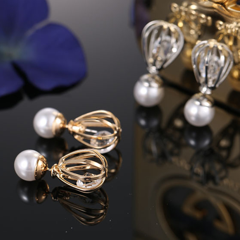 20pairs/lot Personalized Pearls Ear Studs Hollow Alloy Balls Earrings With Crystal Girls Birthday Christmas Festival Gifts je501<br><br>Aliexpress