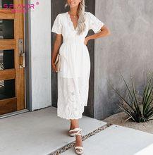 S. טעם קיץ אופנה קצר שרוול נשים שמלה הולו מתוך V-צוואר יחיד כפתור כותנה Vestidos Slim בוהמי ארוך שמלה(China)