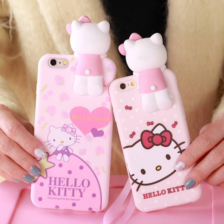 Fashion Cute Case for iPhone 7 7plus 6 6S Plus Hello Kitty Cartoon 3D Soft Silicone Cell Phone Cases Shell Cover with Strap(China (Mainland))