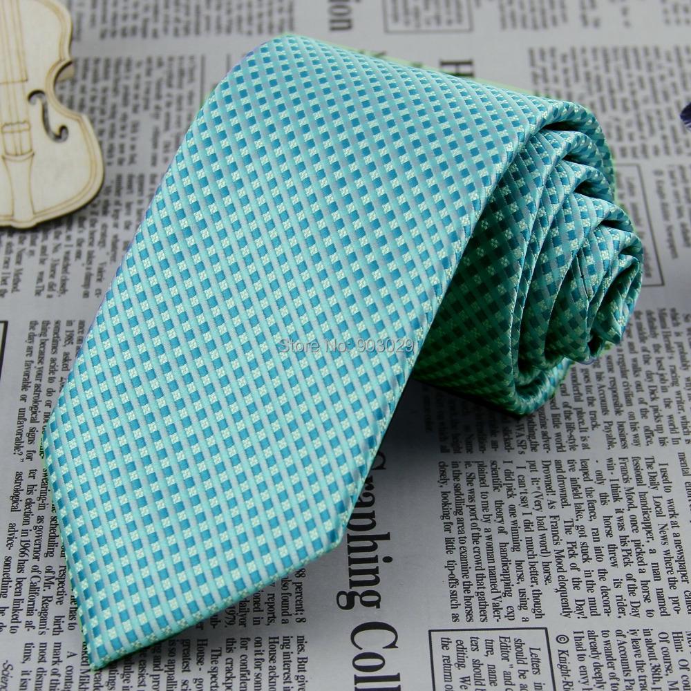 Brand New Light Teal Plaids & Checks Jacquard Necktie Width 3.4'' (8.5cm) 100%  Silk Classic Women Men's Tie Wholesale FS112(China (Mainland))