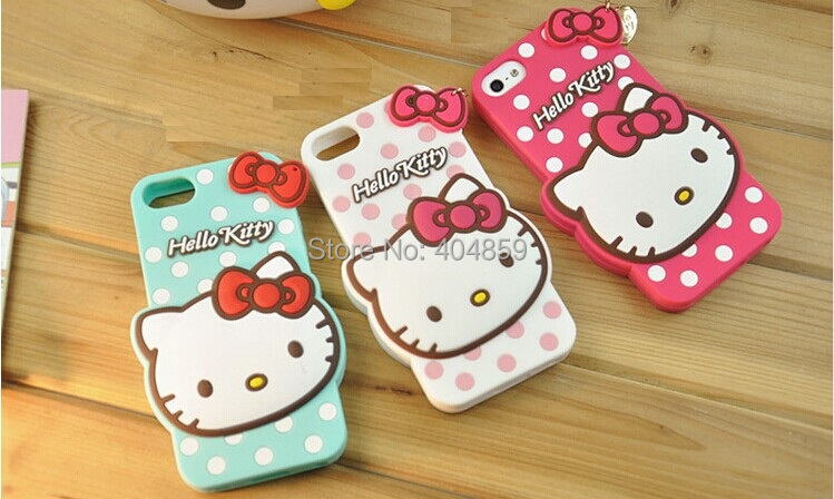 New Cute Hello Kitty Silicone Soft Case Cover cartoon cases For mobile phone cell phone(China (Mainland))