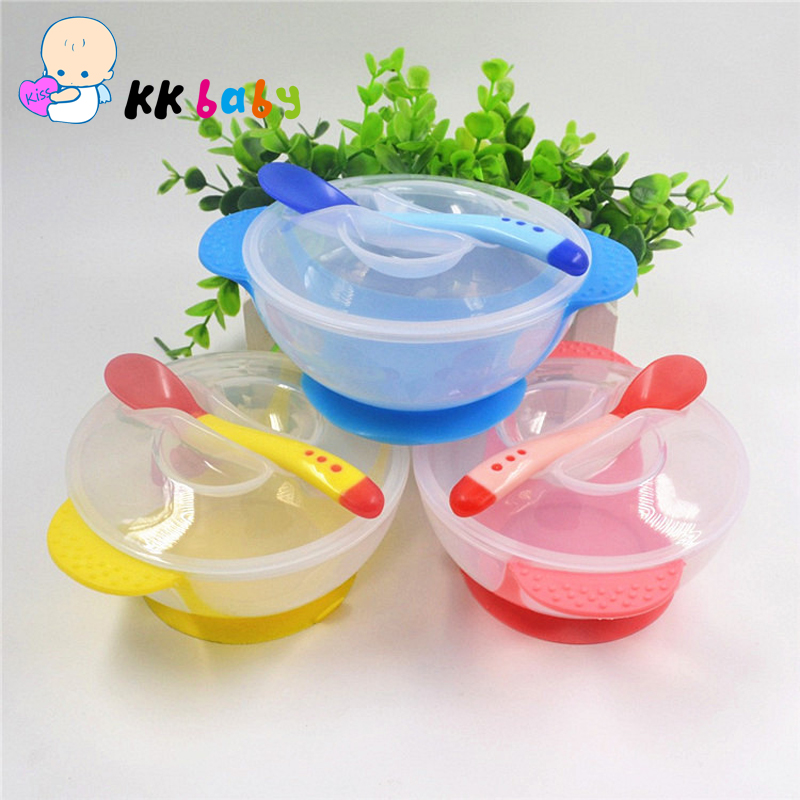 Toddler Baby Bowl Child Feeding Lid Training Bowl with Spoon Cartoon Binaural Baby Feeding Tableware Children Bowl Plate(China (Mainland))
