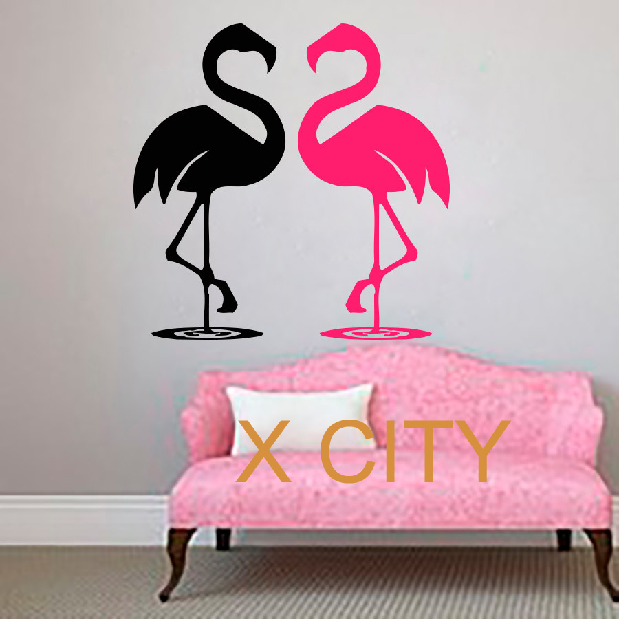 Flamingo Couple WALL ART STICKER VINYL DECAL DIE CUT WINDOW DOOR ROOM STENCIL MURAL HOME DECOR(China (Mainland))
