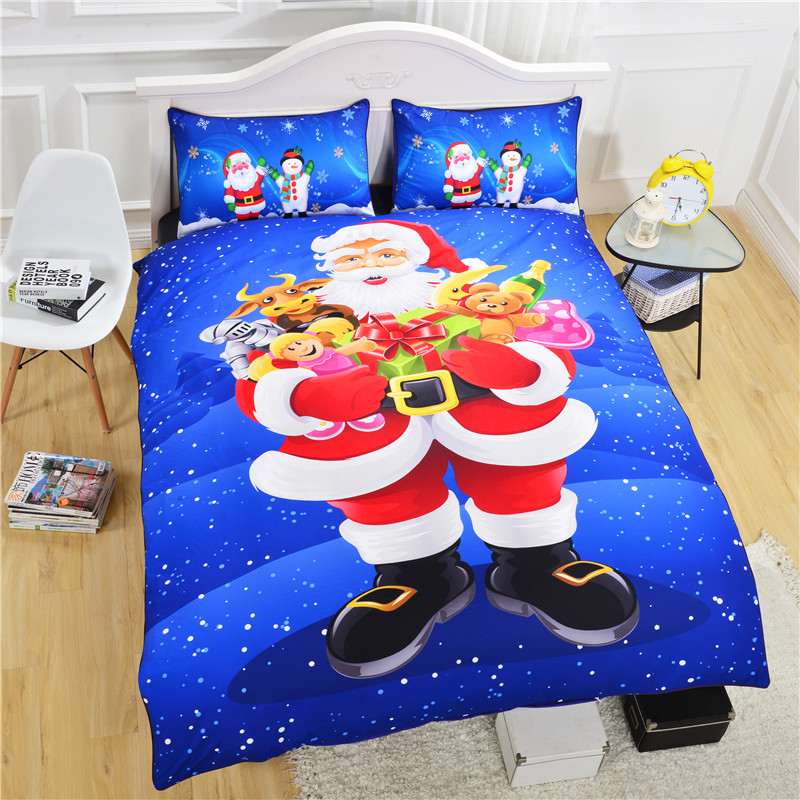 New Arrival Santa Claus Bedclothes Blue Christmas Bedding Set Lovely 3D Duvet Cover Set Twin Queen King(China (Mainland))