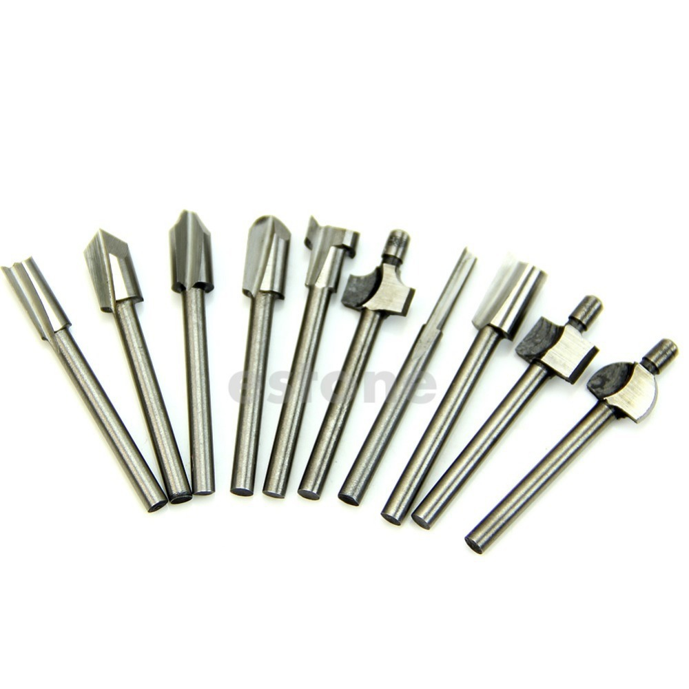 "A96 Free Shipping HSS Router Bits Wood Cutter Milling Fits Dremel Rotary Tool Set 10pcs 1/8"" 3mm(China (Mainland))"