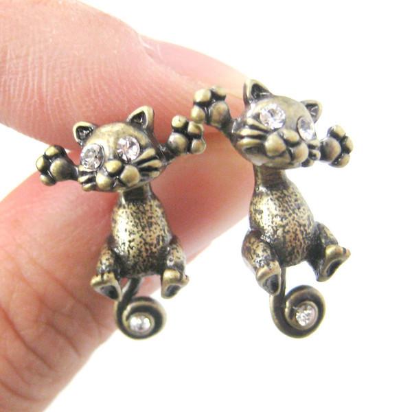 Kitty Cat Two Part Earrings