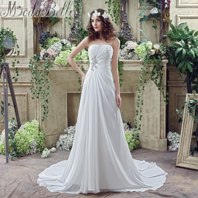 Summer 2016 Chiffon A Line Casual Beach Wedding Dress Boho Cheap Vestidos De Novia Bohemia