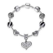 ELESHE модное сердечко серебряного цвета Амулеты Браслет с подвесками для женщин DIY 925 хрустальные бусины подходят к оригинальным браслетам же...(China)