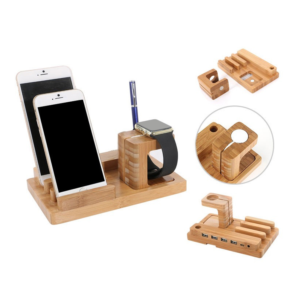 100% Bamboo Craftsmanship Watch PC Charge Station Bracket Docking Stand Phone Holder with 4 USB Ports For Apple iWatch iPhone SE(China (Mainland))
