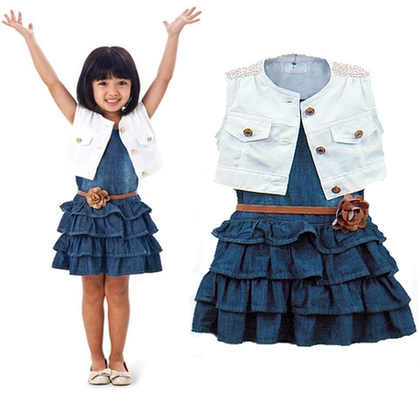 New arrival retail baby girl's two-piece sets Children's clothing female child white vest denim skirt summer sleeveless suit(China (Mainland))