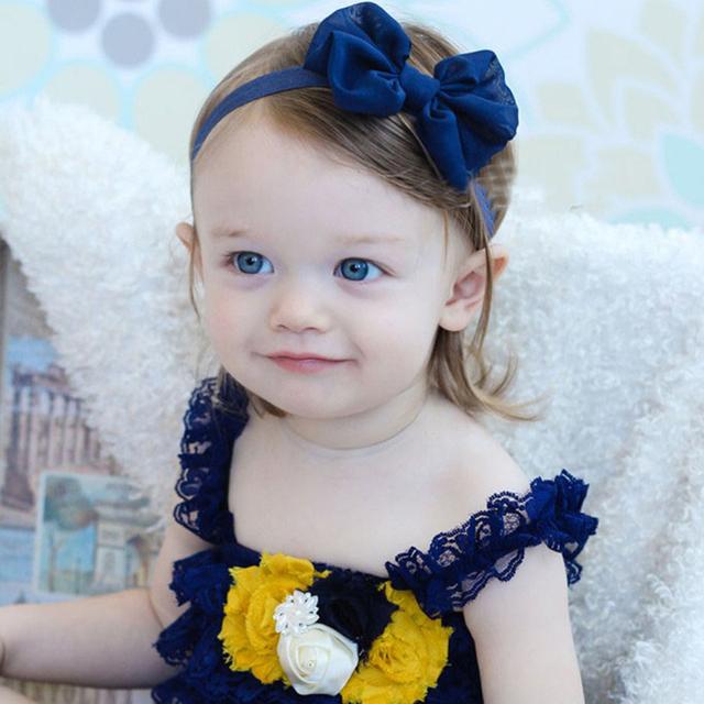 Новый 1 шт. шифон милый бантом с бантом повязки хлопка мягкая сплошной цвет девочка ...