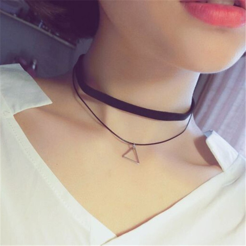 Choker- Multilayer Choker Necklace For Women Triangle- Bijoux Colar 2017