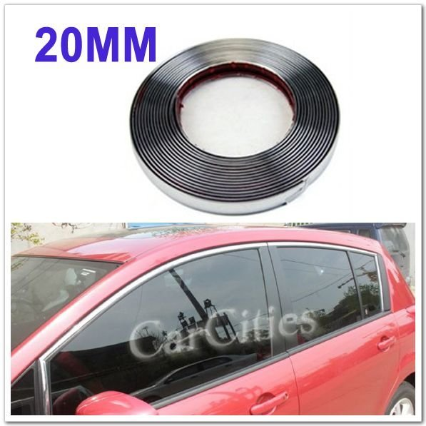 10Meter/lot Wide:20mm Car Chromium Styling strip/Auto accessories exterior decoration silver chrome moulding body car sticker