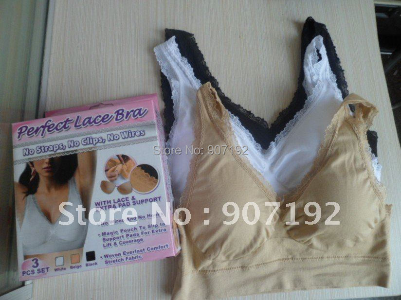 300pcs/lot(100sets) With Pad Lace Genie Bra Outlinin Your Figure, 3 Color a Set No Other Select(Retail packaging)