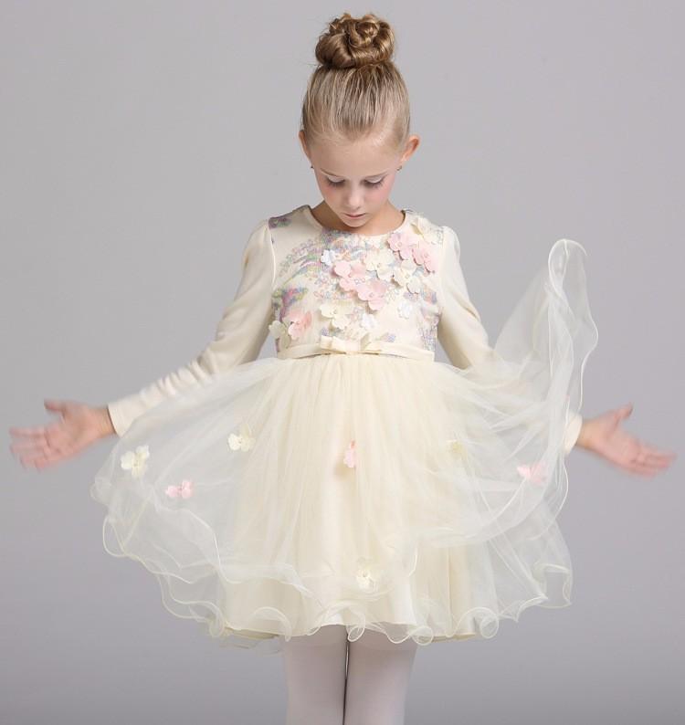Скидки на 2016 новые дети одеваются девушки перлы способа кружева бабочка цветок платье девушки детские платья элегантное платье размер 100-140