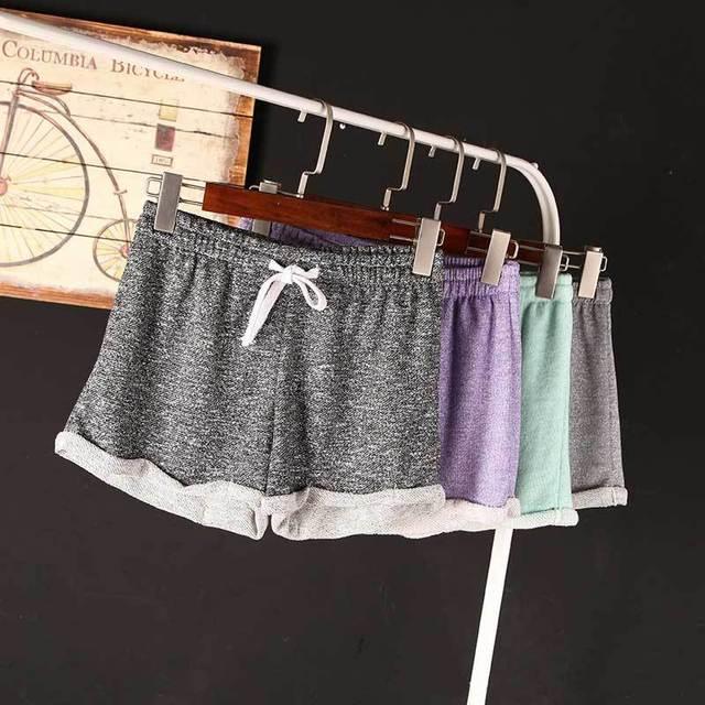 Женщиныs 2015 Summer Drawstring Wide Leg Шорты Свободный Sport Шорты Female Hemming ...