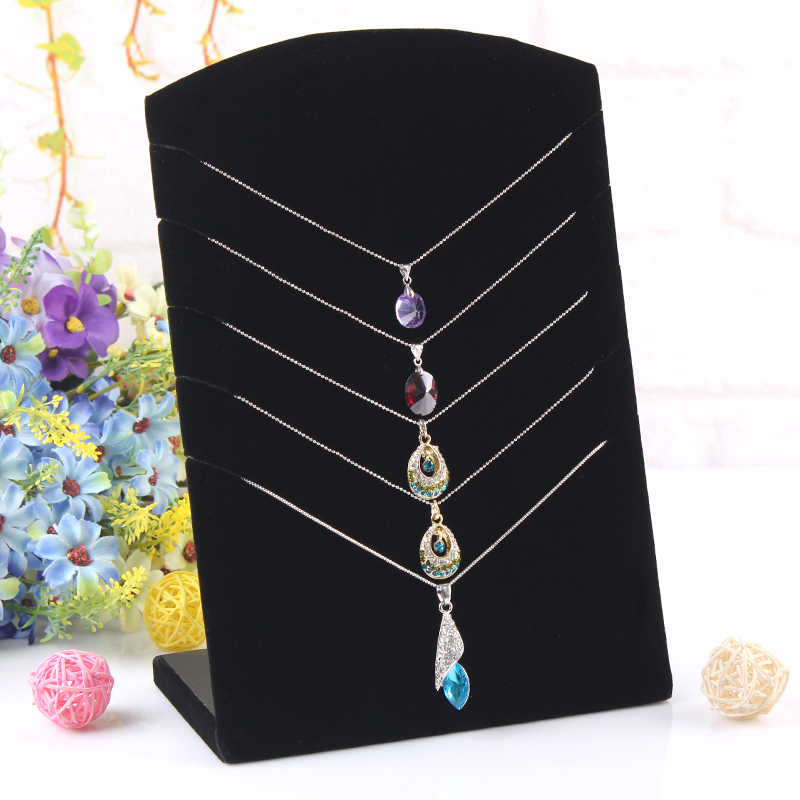 Hot selling Black Velvet rectangle Necklace plate 5 boothes necklace rack Jewelry Display Stand(China (Mainland))