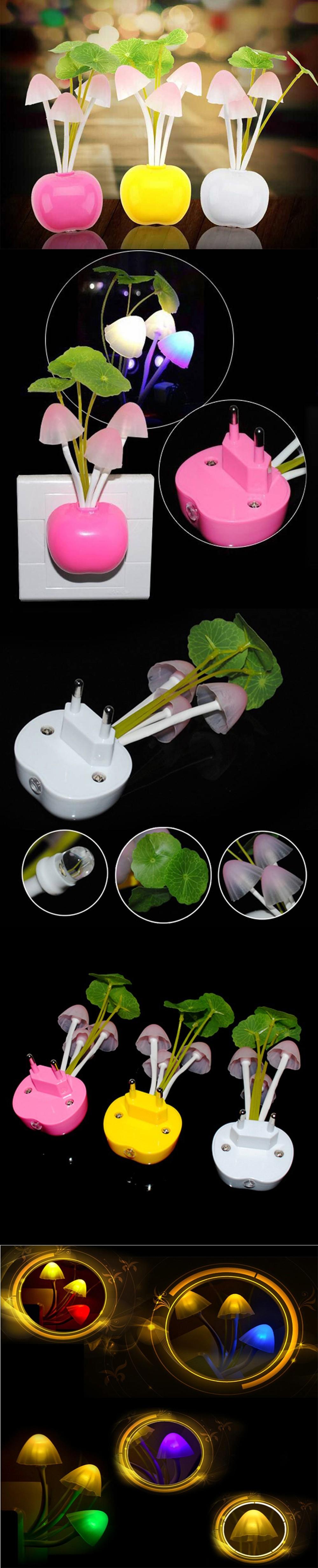EU US plug 110V 220V baby night light Light Sensor Night Lamp Mushroom luminaria Dream Bedroom led night light