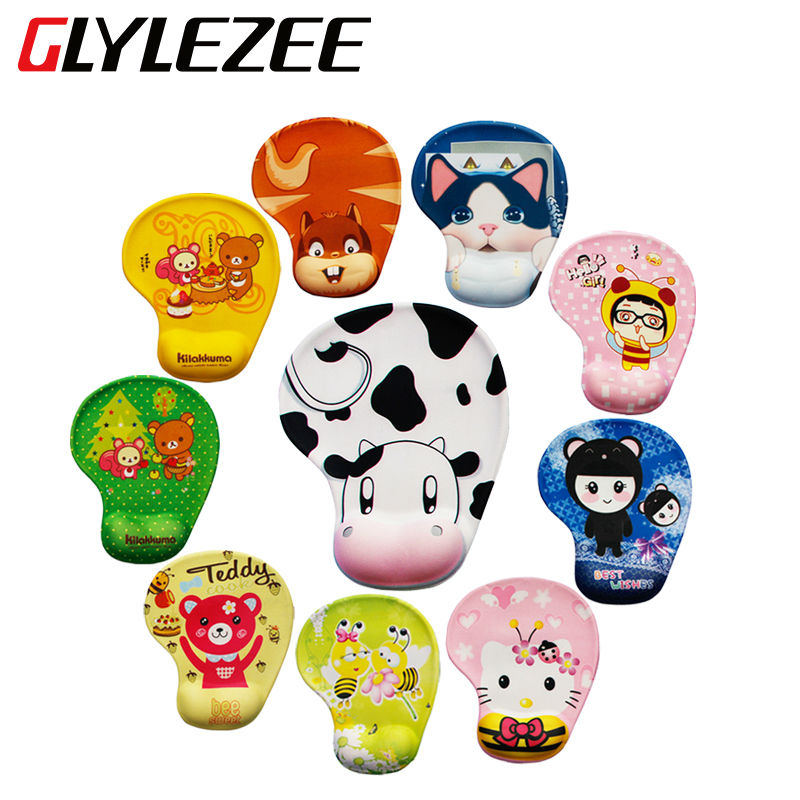Glylezee Rubber Wrist Support Mouse Pad Mat with 10 Cartoon Style Wrist Comfort for Optical Trackball Mouse Desktop Office Using(China (Mainland))