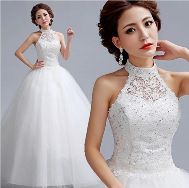 Top lace organza 2015 new free shipping halter neck for Wedding dresses for tall skinny brides