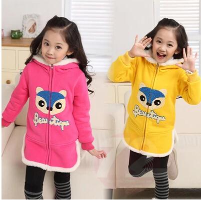 Дети осень и зима теплая верхняя одежда мода детей девочек с длинным рукавом густой ...