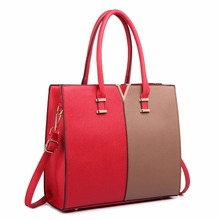 Buy Miss Lulu Women Fashion Designer V Shape Patchwork PU Leather Handbag Shoulder Tote Cross Body Satchel Bag Red Brown LT1666 for $36.80 in AliExpress store