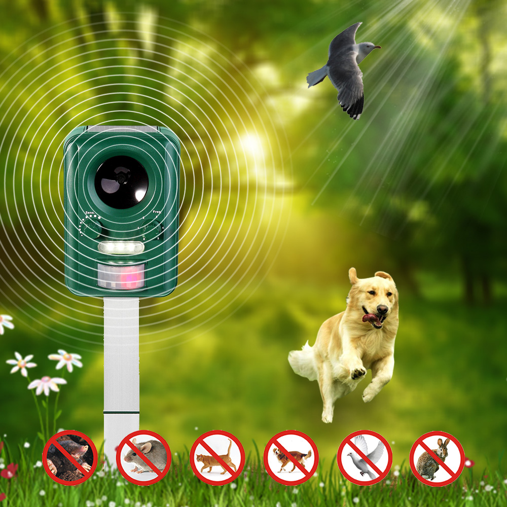 2016 Solar Powered Ultrasonic Animal Pest Repeller Cat Dog Repellent Scarer for Garden,Plants,Outdoor Pest Control +4*AA Battery(China (Mainland))