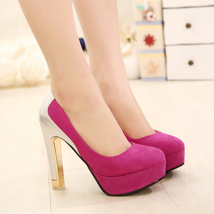 2014 spring high-heeled shoes platform princess color block decoration thick heel - Love beauty foot store