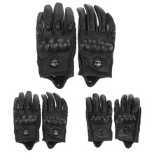 Men Motorcycle Gloves Outdoor Sports Full Finger Motorcycle Riding Protective Armor Black Short Leather Gloves Free Shipping