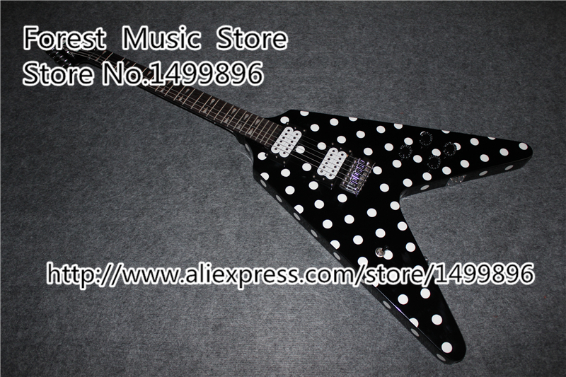 Hot Selling RX10D Randy Rhoads Signature Guitar Black Karl Sandoval Polka Dot Top Flying V China Guitar Electric<br><br>Aliexpress