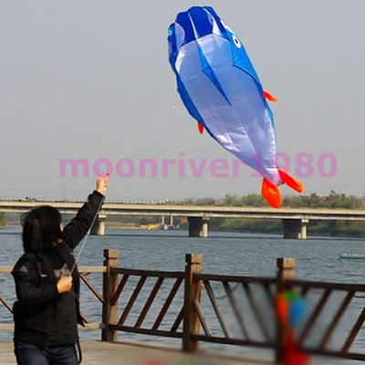 M89 Free Shipping 3D Kites Huge Parafoil Giant Dolphin Blue Power Kite Outdoor Sports Easy to Fly(China (Mainland))
