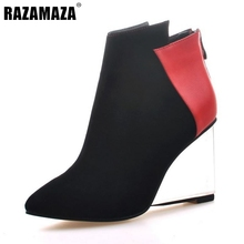 Buy RizaBina Women Pointed Toe Genuine Leather Ankle Boots Wedges Transparent Heeled Shoes Woman Zipper Heeled Shoes Size 34-39 for $49.17 in AliExpress store