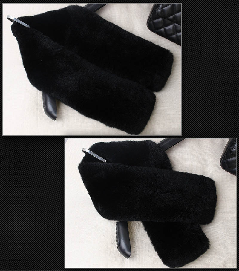rex fur scarf black 2