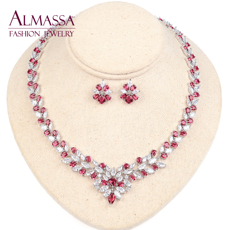 Luxury Flower Style Bridal Jewelry Set Marquise Shape Ruby Crytal Top Quality Cubic Zirconia Diamond Necklace and Earring Set<br><br>Aliexpress