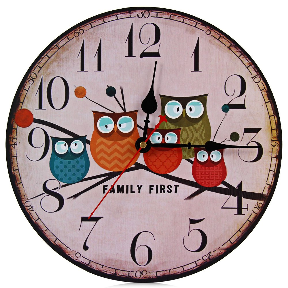 2016 Artistic Silent Retro European Style Round Creative Forest Owl Vintage Rustic Decorative Antique Wooden Home Wall Clock(China (Mainland))