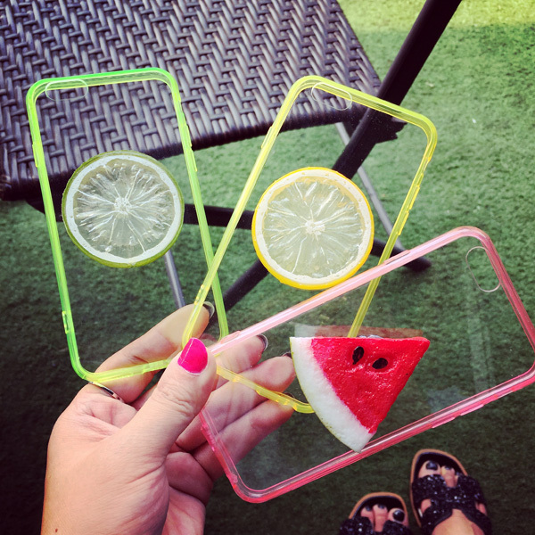 "Summer Must-have Item for Apple iPhone 6 Vivid 3D Fresh Watermelon Cameo Lifelike Lemon Grapefruit Crystal Transparent Case 4.7""(China (Mainland))"