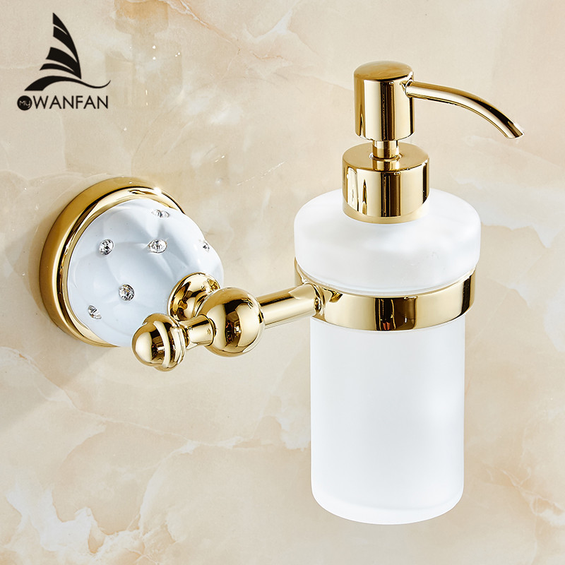 Luxury Wall Mounted Liquid Soap Dispenser With Gold +Frosted Glass Container/bottle Bathroom products Accessories Liquid 5218(China (Mainland))