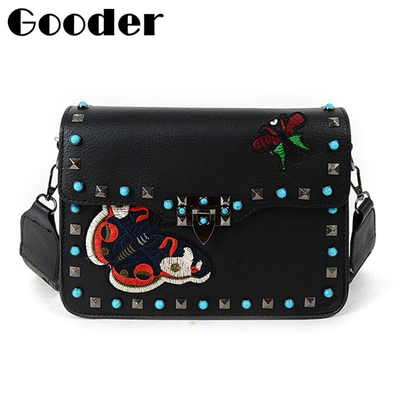 Medium Size Rock Color Stud Crossbody Bags for women Messenger Bags Designer Handbags High Quality PU Leather Rivet Shoulder Bag(China (Mainland))